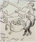 Detalle del dibujo realizado por Le Corbusier en el álbum de autógrafos de Natalia Jiménez de Cossío durante su visita a la Residencia de Estudiantes, Madrid, mayo de 1928.